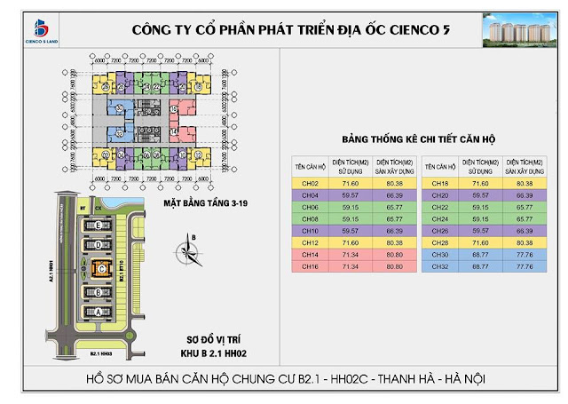 Mặt bằng chi tiết căn hộ tòa B2.1 -HH02C- Thanh Hà