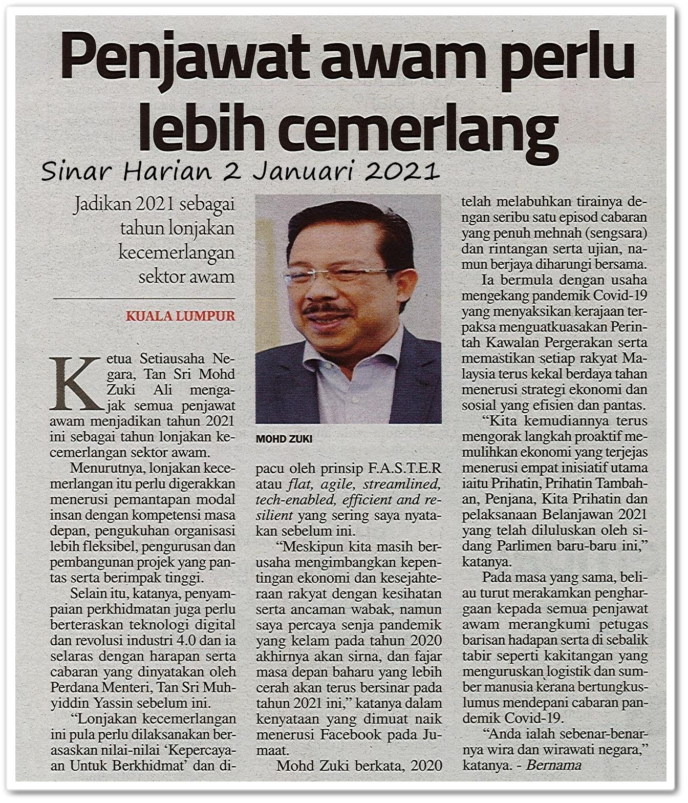 Penjawat awam perlu lebih cemerlang - Keratan akhbar Sinar Harian 2 Januari 2021