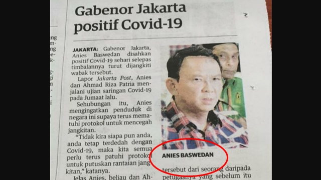 Ngakak! Koran Malaysia Beritakan Gubernur DKI Kena Covid, tapi Pakai Foto Eks Napi Penistaan Agama