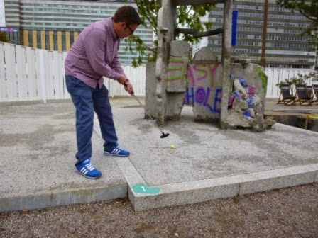 Playing hole 1 of Putt Putt #2 in Croydon in 2014