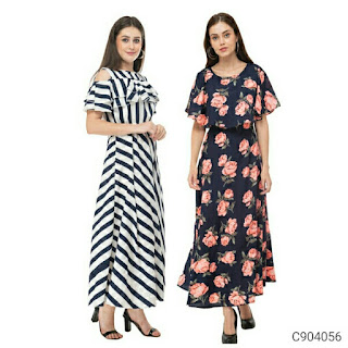Women's Poly Crepe Combo Maxi Dresses