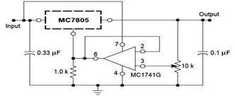 Adjustable Output Regulator Circuit Diagram using 7805 IC