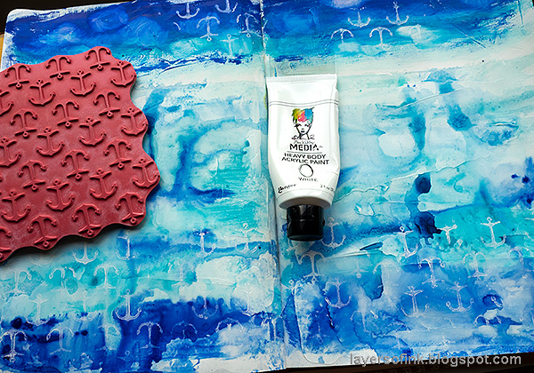 Layers of ink - Always Hope Seascape Art Journal Page Tutorial by Anna-Karin Evaldsson. Stamp anchors.