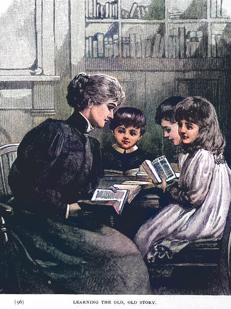 Mother reads books with children