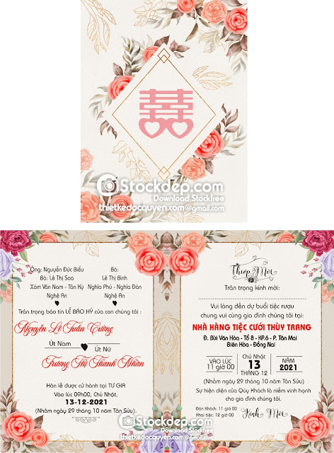 Floral wedding invitation free download
