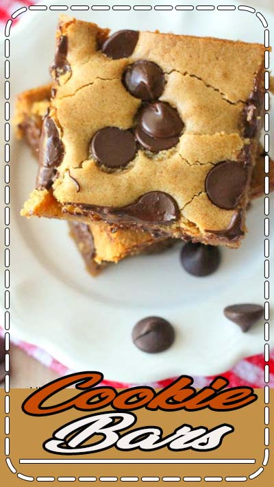 Chocolate Chip Cookie Bars (aka Pan Chewies) - our family's go-to Sunday Night Dessert! It's your favorite cookie in bar-form served hot and perfect with ice cream.