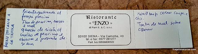 Comer em Siena, Restaurante Enzo