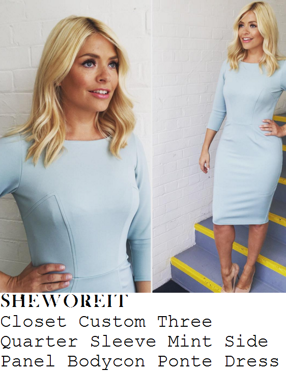 holly-willoughby-closet-pastel-mint-blue-custom-three-quarter-sleeve-seam-detail-bodycon-dress