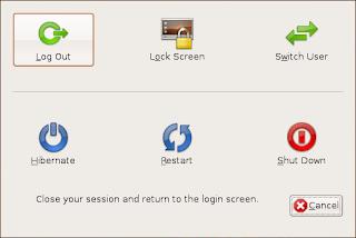 Menu logout shutdown Ubuntu