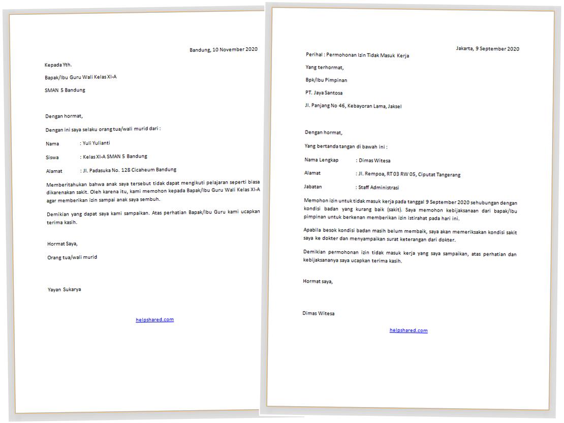 Contoh Surat Izin Sakit Ke Sekolah Dan Kerja