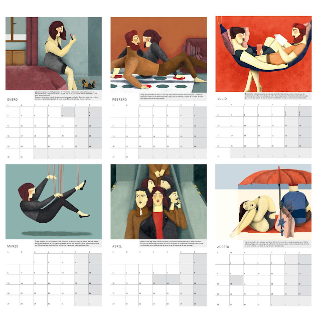 Láminas interiores calendario ilustrado de pared o sobremesa 2017 - Interior prints of the illustrated 2017 calendar