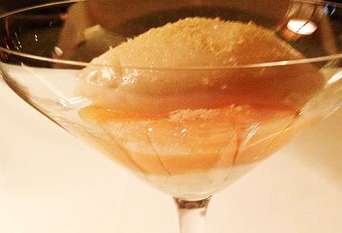 Bouley's vanilla mousse, lychee sorbet parfait