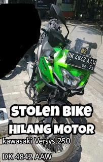 Info Moto Hilang Kawasaki Versys 250   DK 4842 AAW