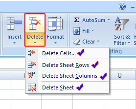 Delete Option in MS Excel in HIndi
