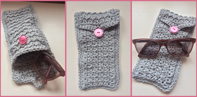 Three photographs or a great crochet glasses case with a pink button photographed at different angles. Some photographs are also pictured with a pair of glasses.
