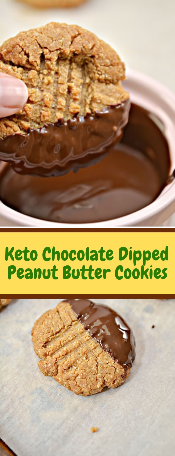 Keto Chocolate Dipped Peanut Butter Cookies #BUTTERCOOKIES #KETORECIPES