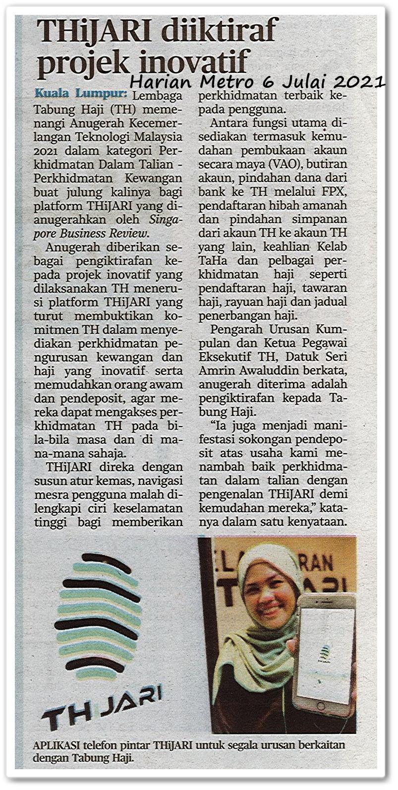 THiJARI diiktiraf projek inovatif - Keratan akhbar Harian Metro 6 Julai 2021