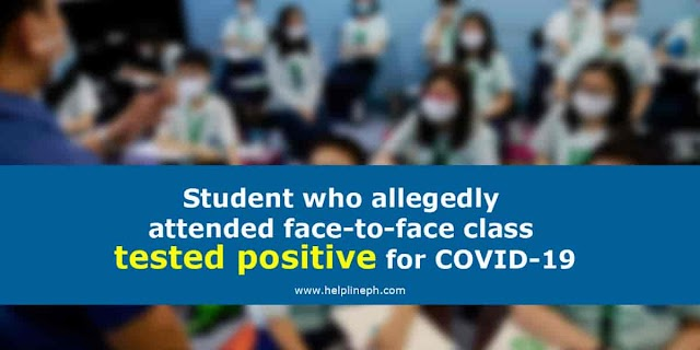 Student who allegedly attended face-to-face class tested positive for COVID-19