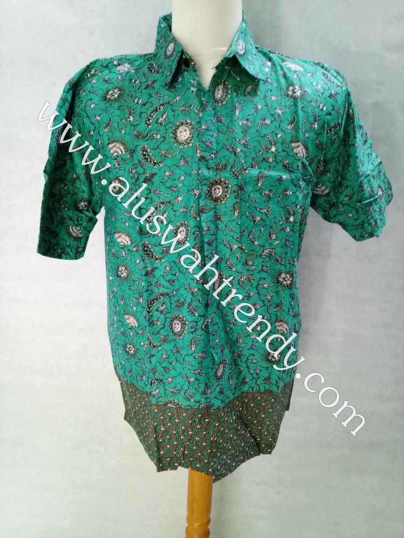 Kemeja Batik Lengan Pendek Hijau Tosca 010
