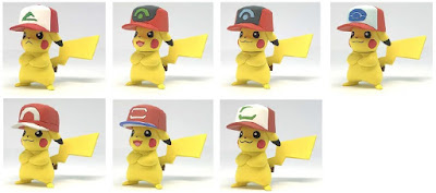 Piakchu figures 7 pcs set Takara Tomy Monster Collection 20th Anniversary 'Ash's Pikachu'