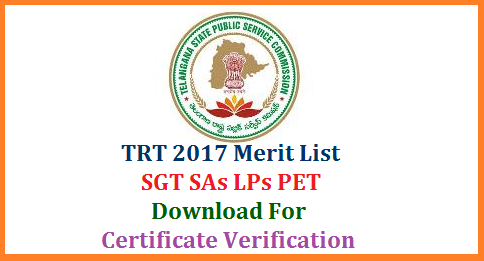 TRT 2017 Merit List of SGT SA LP PET Download @tspsc.gov.in