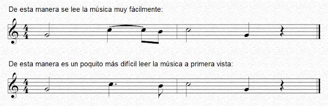 Ligadura de prolongación para facilitar la lectura de la música