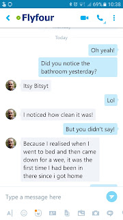 a screenshot of the Skype Conversation my husband and I had