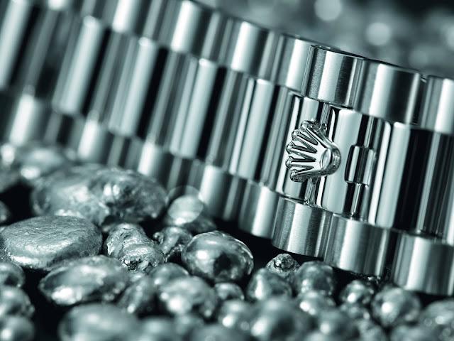 Photo of a Rolex Crownclasp on a platinum president bracelet