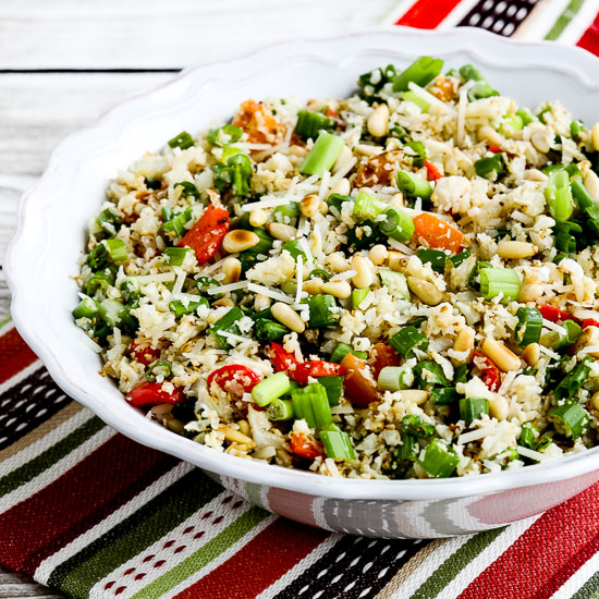 Cauliflower Rice with Red Pepper, Green Onion, Parmesan, and Pine Nuts ...