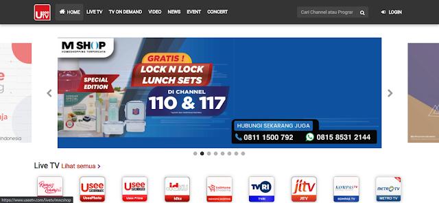 Tampilan UseeTV versi Desktop