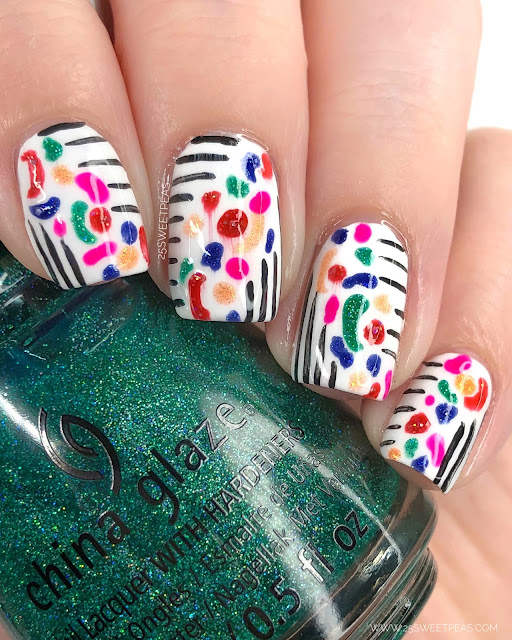 Stripes & Abstract Shapes Nail Art