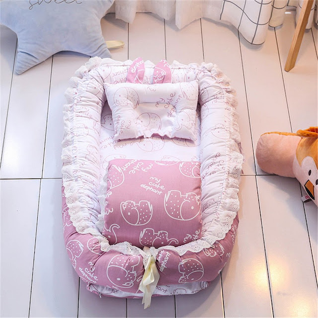 Ruffled Baby Bassinet for Bed