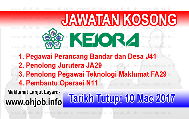 Jawatan Kerja Kosong KEJORA - Lembaga Kemajuan Johor Tenggara logo www.ohjob.info mac 2017
