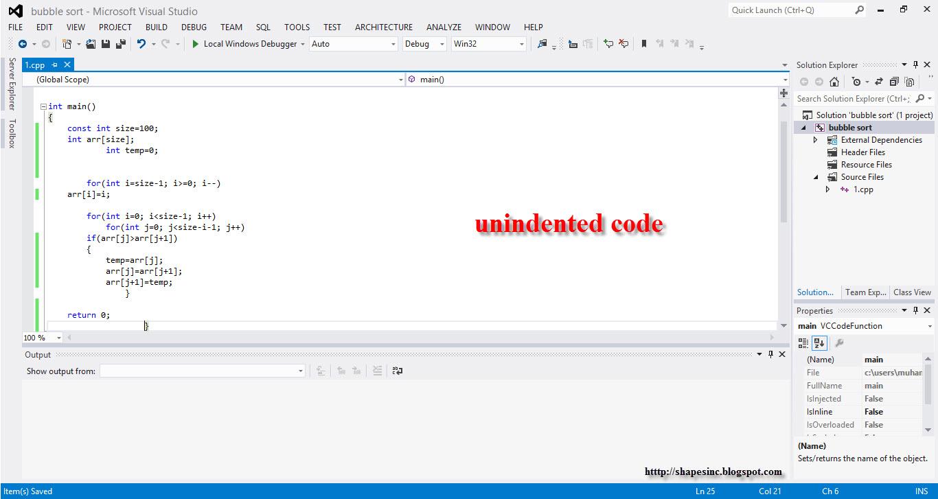 Indentation in C++ ~ Shapes in C++ - Free   C++Tutorial   Online