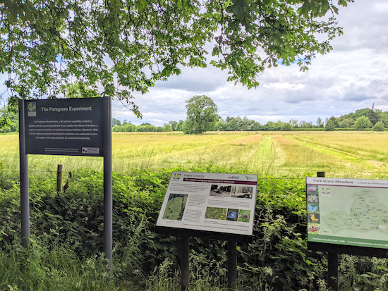 One of the many information boards in Rothamsted Park