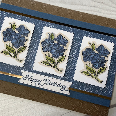 Soft Suede and Misty Moonlight Hand Stamped Floral Birthday Card