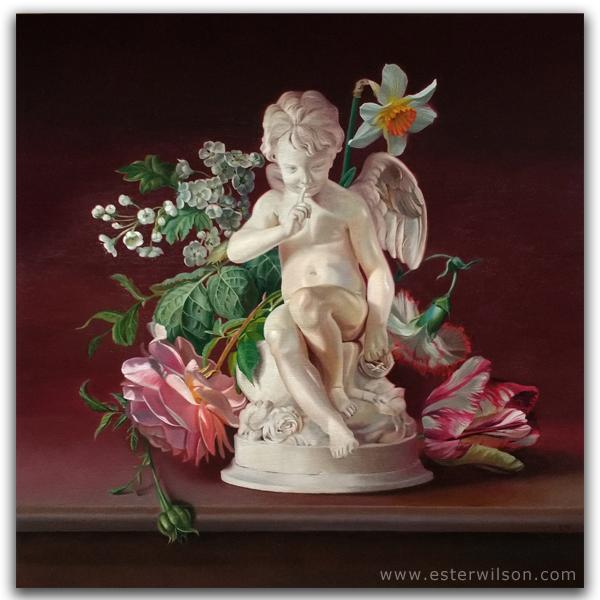 "Cupid's Garden, 24"" x 24"", oil painting on wood panel"
