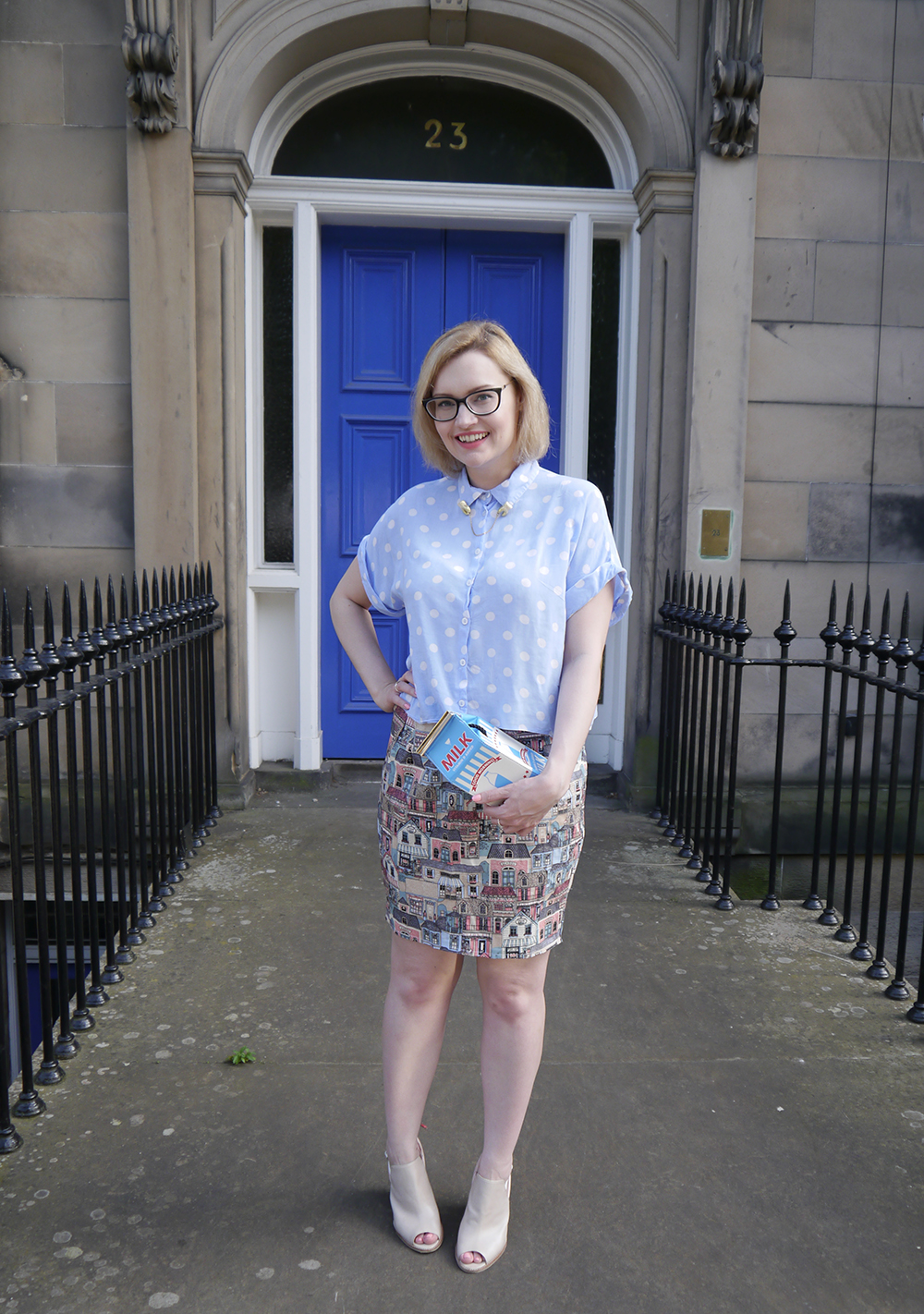 Scottish blogger, Edinburgh blogger, polkadot shirt, teeth collar clips, novelty milky bag, blue door edinburgh, Scottish street style, quirky street style, dressing to a theme, food inspired outfit, pale girl style,