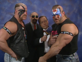 WCW Wrestlewar 1990 - The Road Warriors show their support for an injured Sting