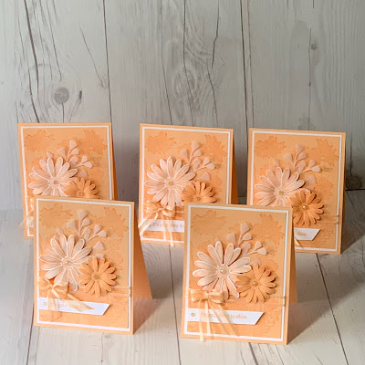 Collection of Pale Papaya Monochromatic Greeting Cards using Stampin' Up! Daisy Garden stamp Set and coordinating Daisy Punches