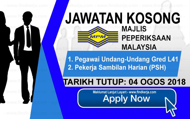 Jawatan Kerja Kosong MPM - Majlis Peperiksaan Malaysia logo www.ohjob.info www.findkerja.com ogos 2018