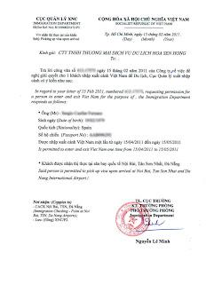 Lettre d'invitation du Vietnam. Visa Vietnam à l'arrivée