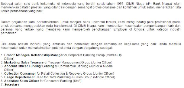 5 Lowongan Kerja BANK CIMB NIAGA Terbaru 2019