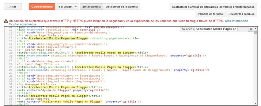 Plantilla para Blogger en Amp