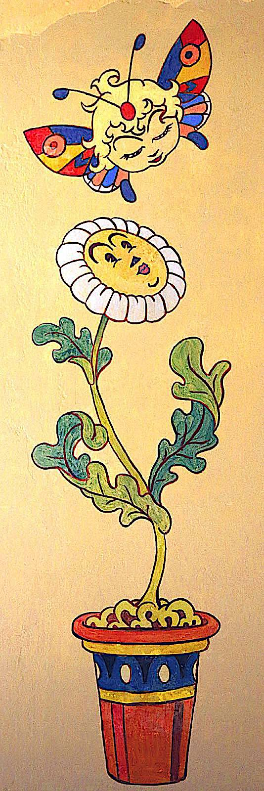 an Antonio Rubino children's book illustration of a butterfly meeting a potted flower