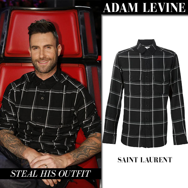 adam levine in black check plaid shirt saint laurent casual outfit everyday