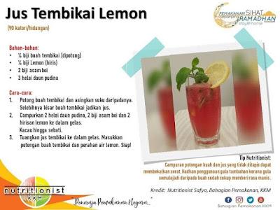 menu berbuka puasa dan sahur simple air tembikai lemon