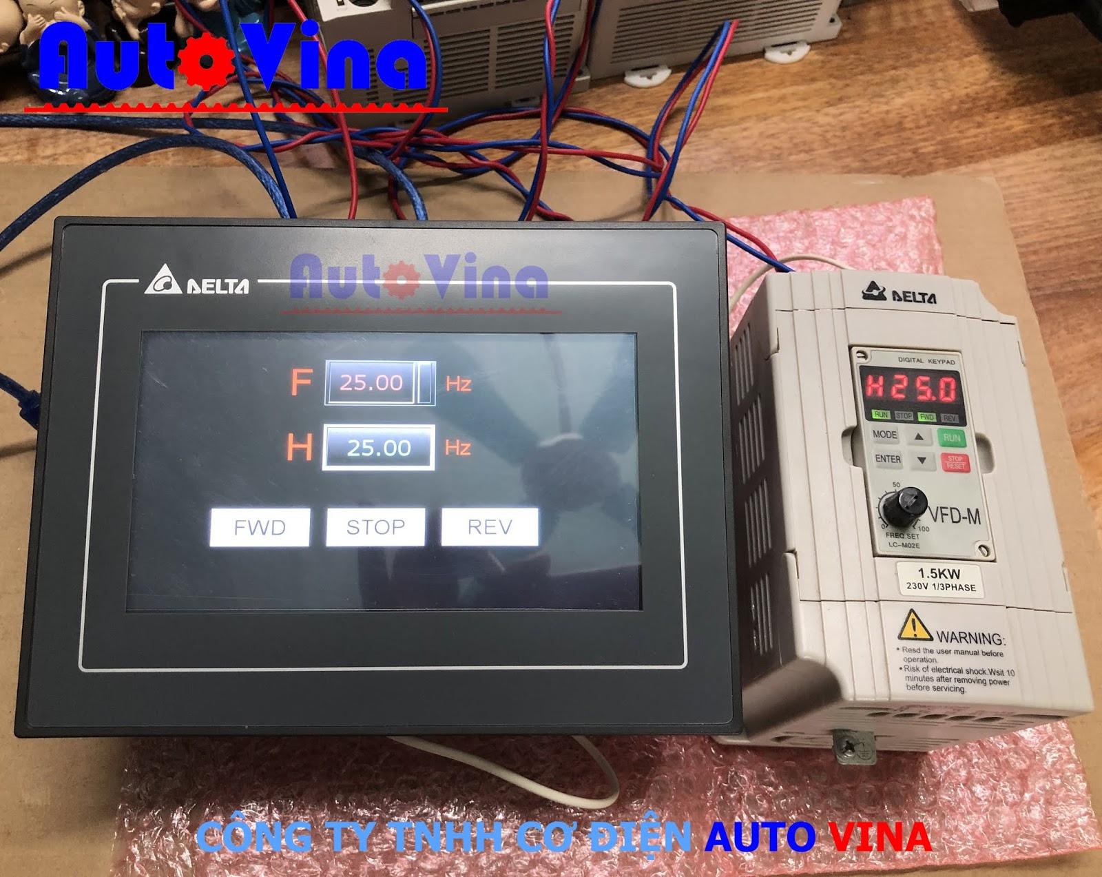 Lập trình màn hình HMI Delta DOP-107BV kết nối RS485 Modbus với biến tần Delta VFD-M Series