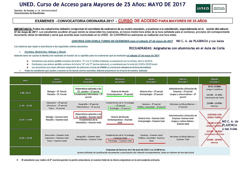 Uned Calendario Examenes.Uned Aula De Coria Caceres Calendario De Examenes Mayo 2017