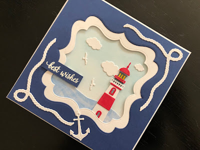 Hand made card with die cut lighthouse, rope and anchor